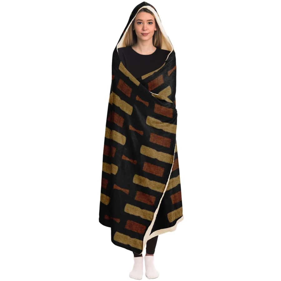 Afrocentric Bogolan Hooded Blanket - Hooded Blanket - AOP