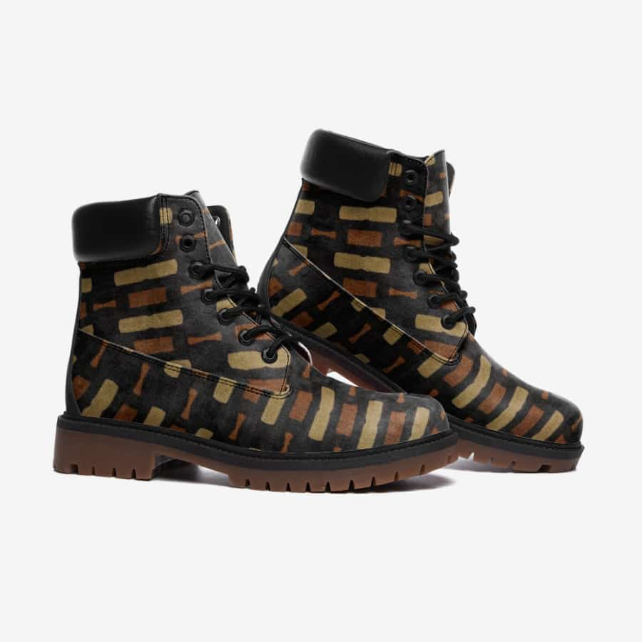 Afrocentric Bogolan Leather Lightweight boots TB - Men's Shoes