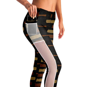 Afrocentric Bogolan Mesh Pocket Legging - Mesh Pocket Legging - AOP