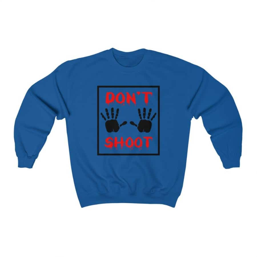 Afrocentric Don't Shoot Red Crewneck Sweatshirt - Royal / S - Sweatshirt