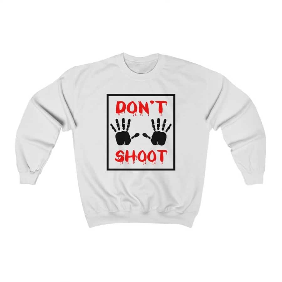 Afrocentric Don't Shoot Red Crewneck Sweatshirt - White / S - Sweatshirt