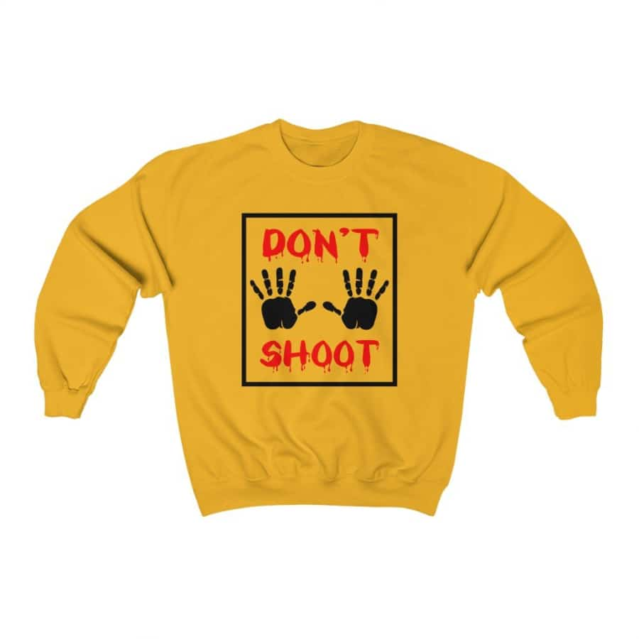 Afrocentric Don't Shoot Red Crewneck Sweatshirt - Gold / S - Sweatshirt