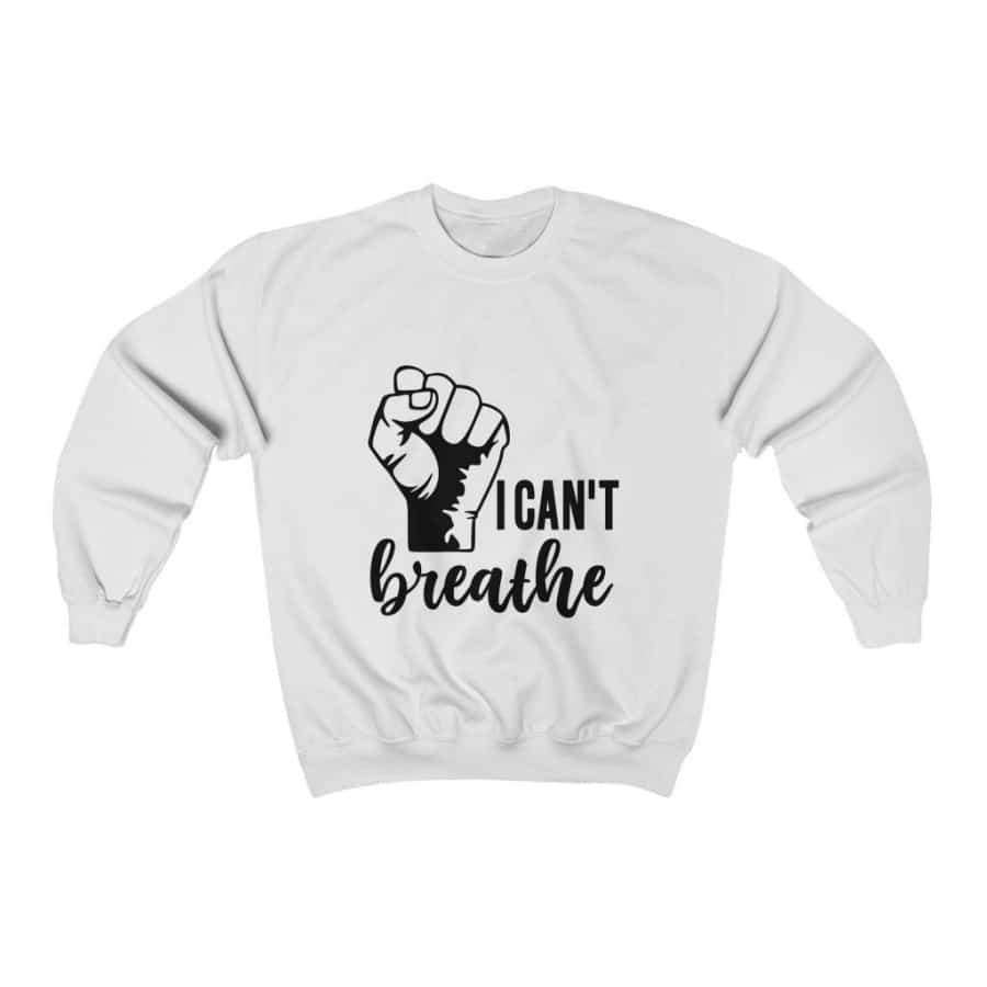 Afrocentric I Can't Breathe Crewneck Sweatshirt - White / S - Sweatshirt