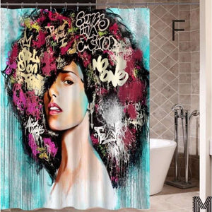 Art Design Graffiti Art Hip Hop African Girl with Black Hair Big Earring with Modern Building Shower - F / 180X180 - Furniture
