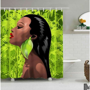 Art Design Graffiti Art Hip Hop African Girl with Black Hair Big Earring with Modern Building Shower - N / 180X180 - Furniture