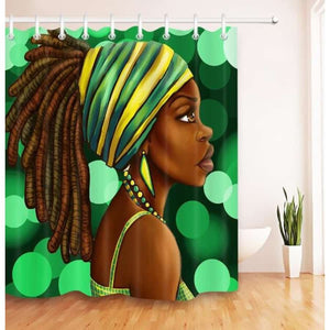Art Design Graffiti Art Hip Hop African Girl with Black Hair Big Earring with Modern Building Shower - S / 180X180 - Furniture