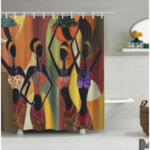 Art Design Graffiti Art Hip Hop African Girl with Black Hair Big Earring with Modern Building Shower - O / 180X180 - Furniture