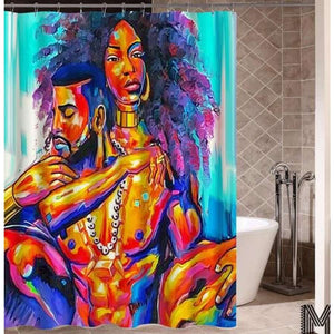 Art Design Graffiti Art Hip Hop African Girl with Black Hair Big Earring with Modern Building Shower - K / 180X180 - Furniture