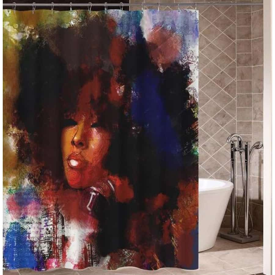 Art Design Graffiti Art Hip Hop African Girl with Black Hair Big Earring with Modern Building Shower - J / 180X180 - Furniture