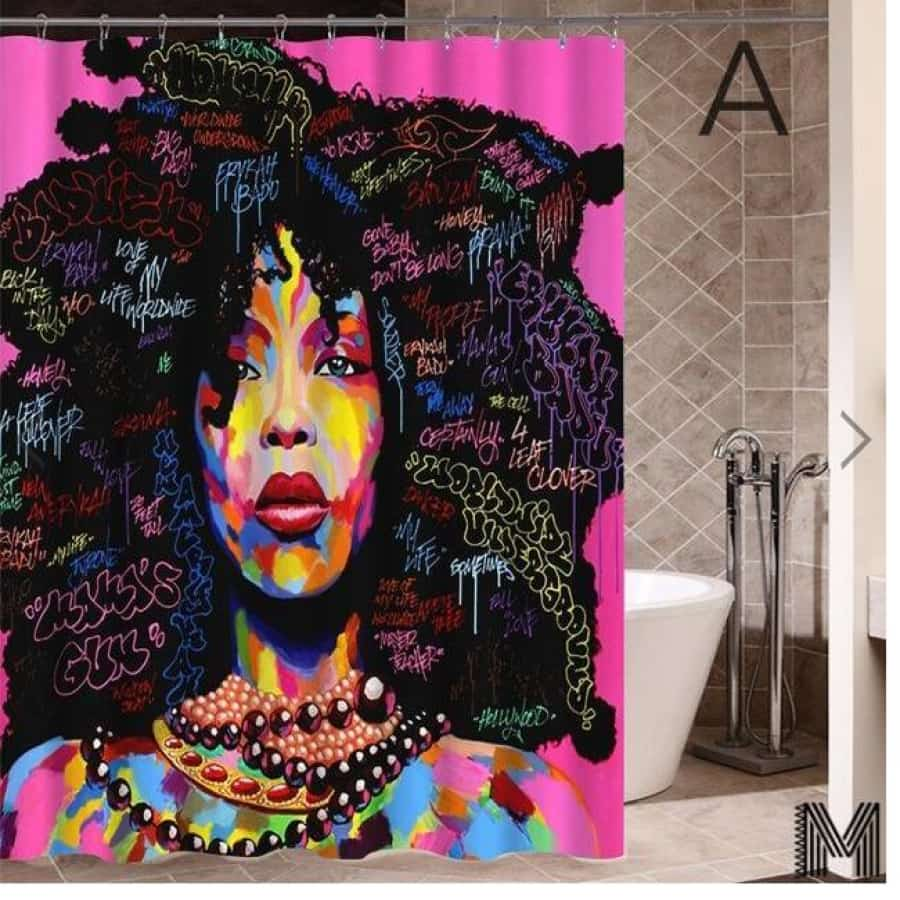 Art Design Graffiti Art Hip Hop African Girl with Black Hair Big Earring with Modern Building Shower - A / 180X180 - Furniture