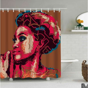 Art Design Graffiti Art Hip Hop African Girl with Black Hair Big Earring with Modern Building Shower - T / 180X180 - Furniture