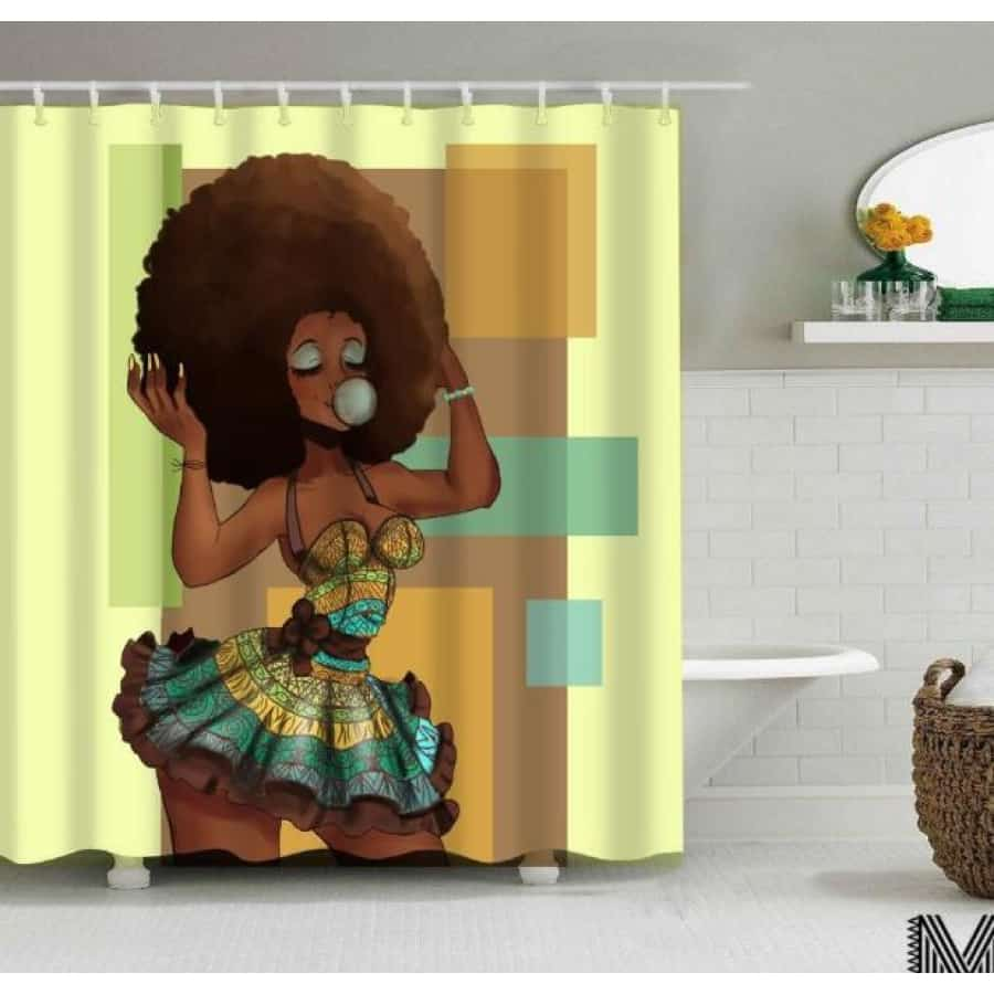 Art Design Graffiti Art Hip Hop African Girl with Black Hair Big Earring with Modern Building Shower - L / 180X180 - Furniture
