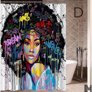 Art Design Graffiti Art Hip Hop African Girl with Black Hair Big Earring with Modern Building Shower - D / 180X180 - Furniture