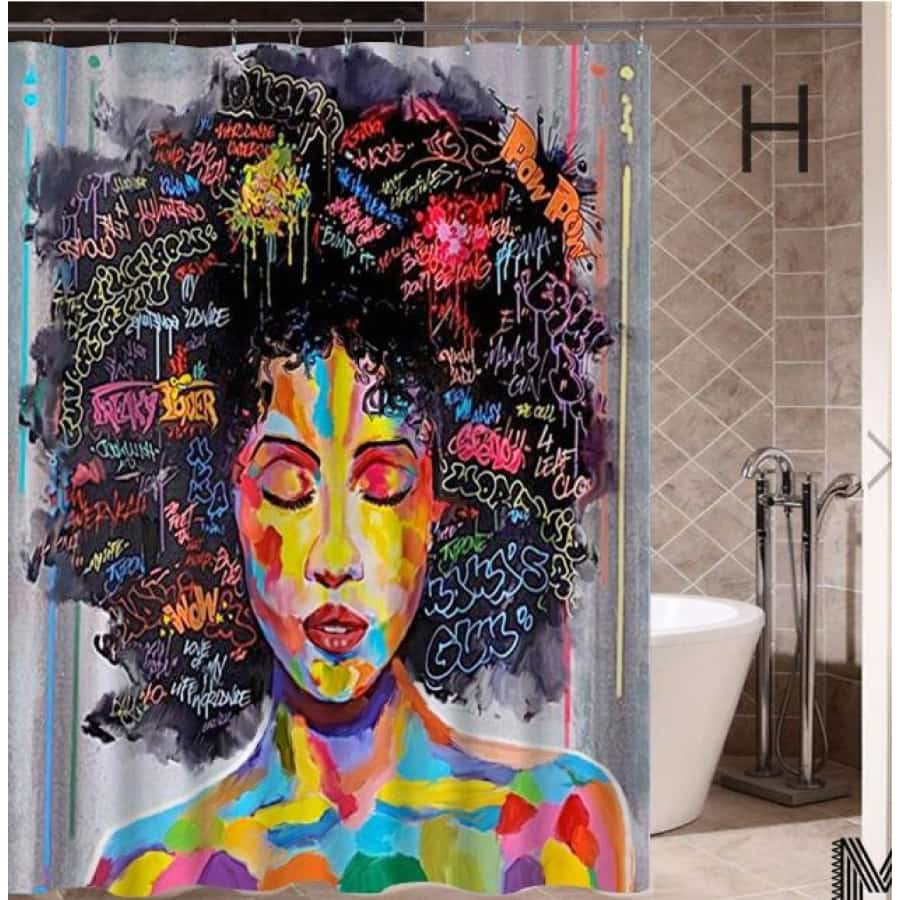 Art Design Graffiti Art Hip Hop African Girl with Black Hair Big Earring with Modern Building Shower - H / 180X180 - Furniture