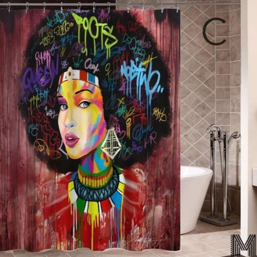 Art Design Graffiti Art Hip Hop African Girl with Black Hair Big Earring with Modern Building Shower - C / 180X180 - Furniture