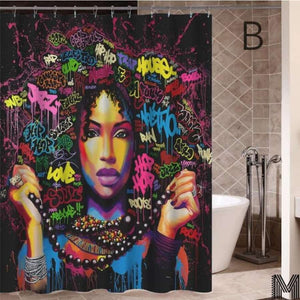 Art Design Graffiti Art Hip Hop African Girl with Black Hair Big Earring with Modern Building Shower - B / 180X180 - Furniture