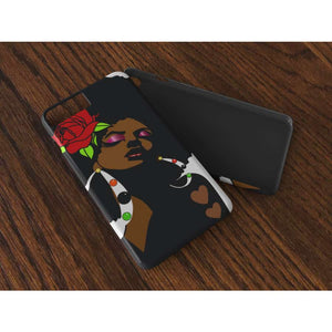 Black Afro Girl With a Red Rose Iphone case - Cases for iPhone
