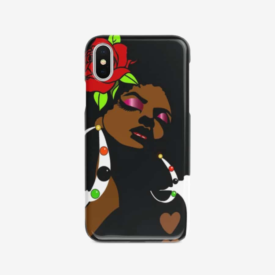 Black Afro Girl With a Red Rose Iphone case - iPhone SE - Cases for iPhone