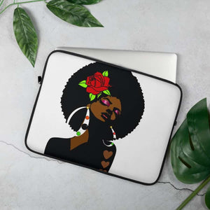 Black Afro Girl With a Red Rose Laptop Sleeve - 15 in - Accessories