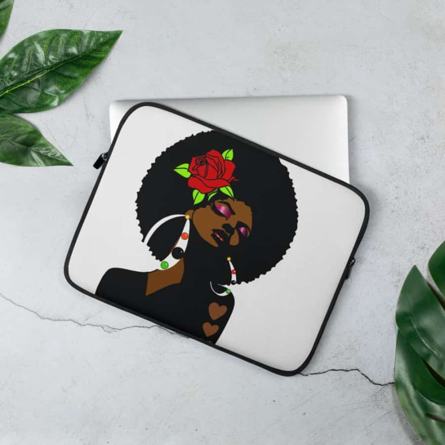 Black Afro Girl With a Red Rose Laptop Sleeve - 13 in - Accessories