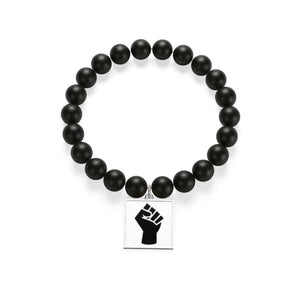 Black Power Matte Onyx Bracelet - indigotile / Silver - Accessories