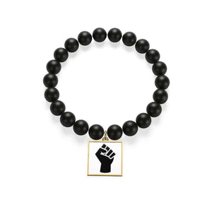 Black Power Matte Onyx Bracelet - indigotile / Golden - Accessories