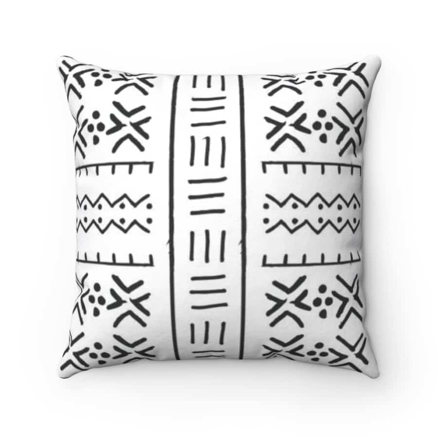 Black/white African mud cloth Spun Polyester Square Pillow Case - 14 x 14 - Home Decor