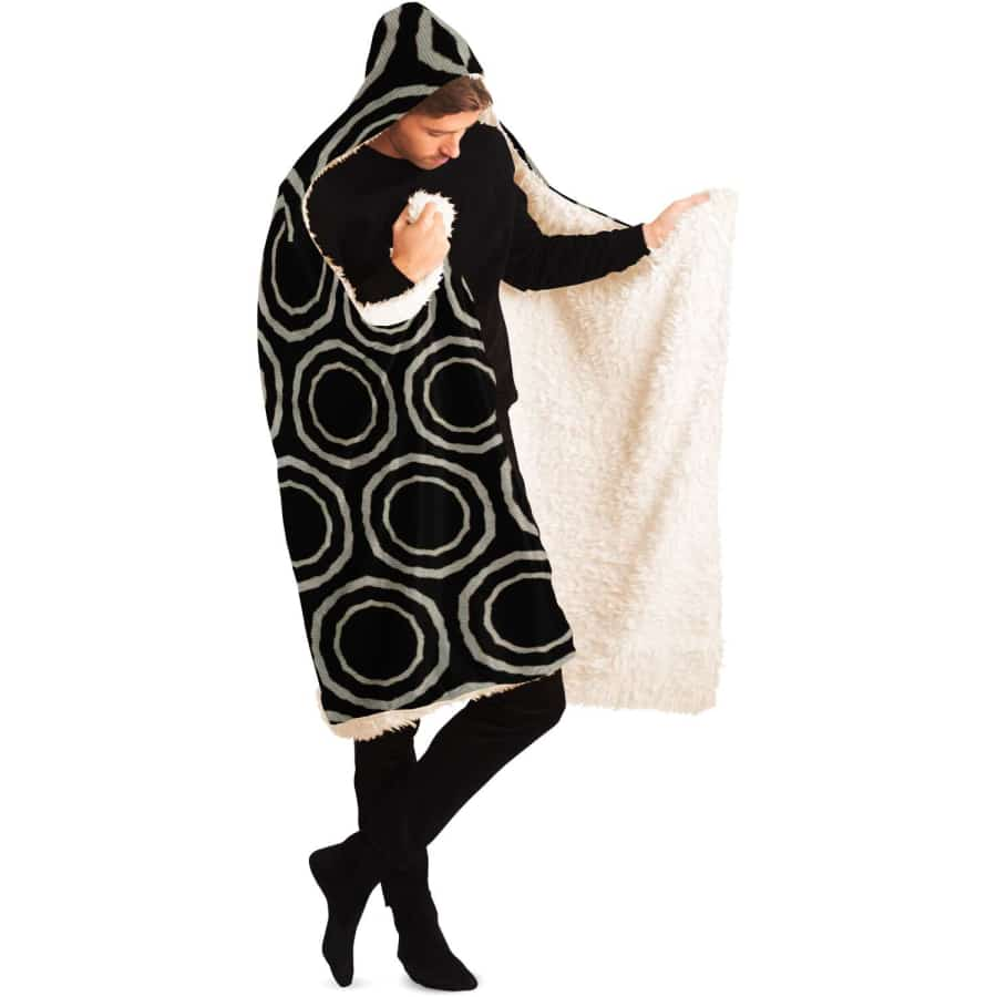 Bogolan B W Circle Hooded Blanket - Hooded Blanket - AOP