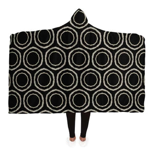 Bogolan B W Circle Hooded Blanket - Adult / Premium Sherpa - Hooded Blanket - AOP