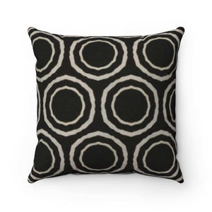 Bogolan B W Circle Spun Polyester Square Pillow - Home Decor