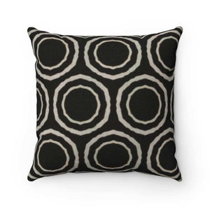 Bogolan B W Circle Spun Polyester Square Pillow - 20 x 20 - Home Decor