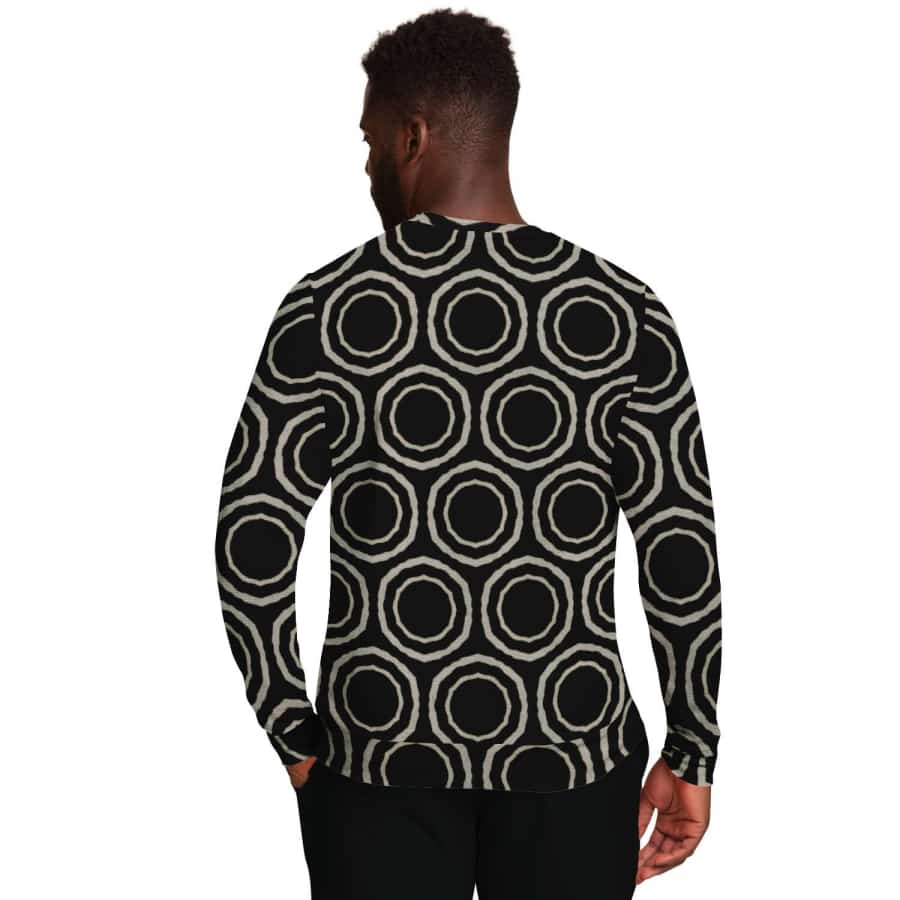 Bogolan B W Circle Sweatshirt - Athletic Sweatshirt - AOP