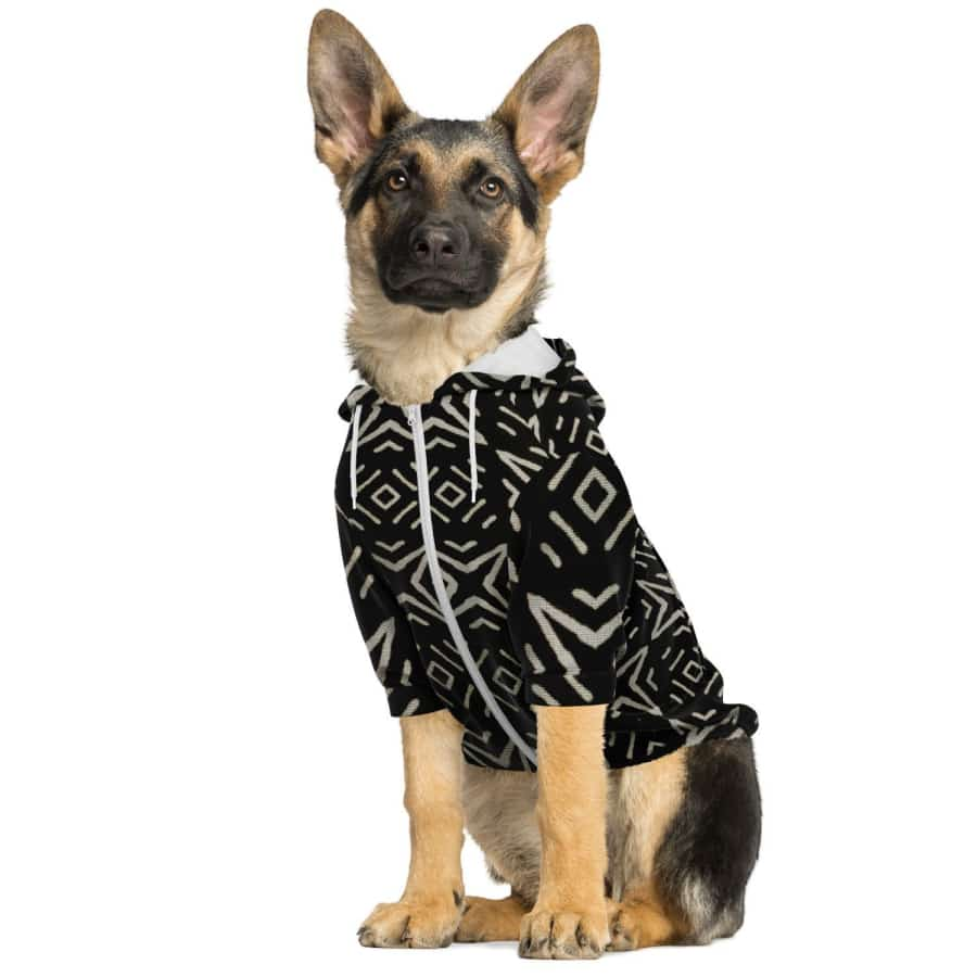 Bogolan B W Star Dog Zip-Up Hoodie - Athletic Dog Zip-Up Hoodie - AOP