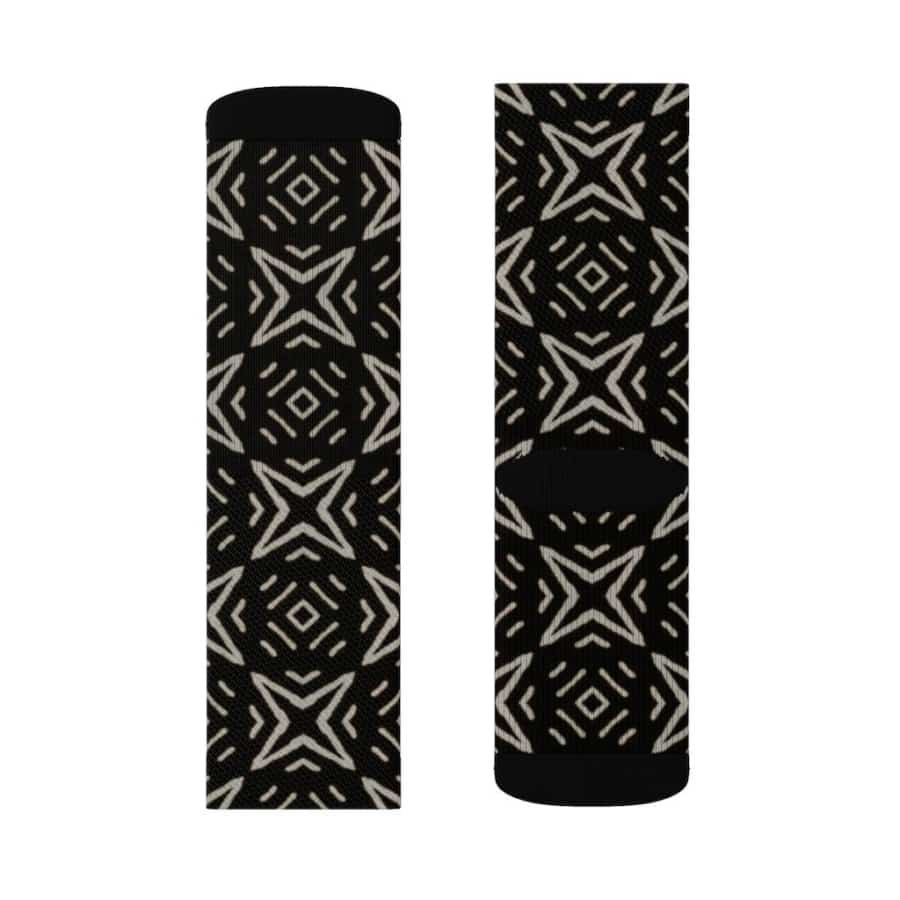 Bogolan B W Star Sublimation Socks - All Over Prints