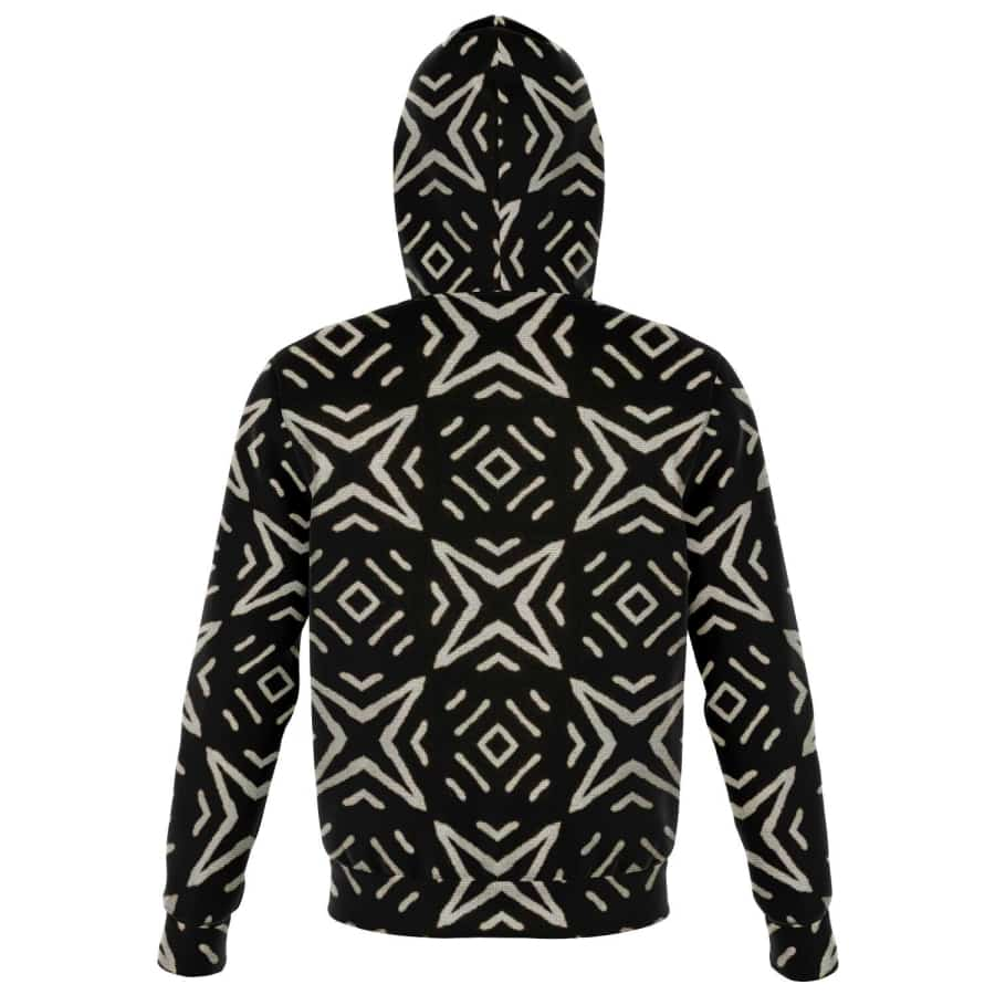 Bogolan B W Star Zip-Up Hoodie - Athletic Zip-Up Hoodie - AOP