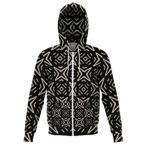 Bogolan B W Star Zip-Up Hoodie - XS - Athletic Zip-Up Hoodie - AOP