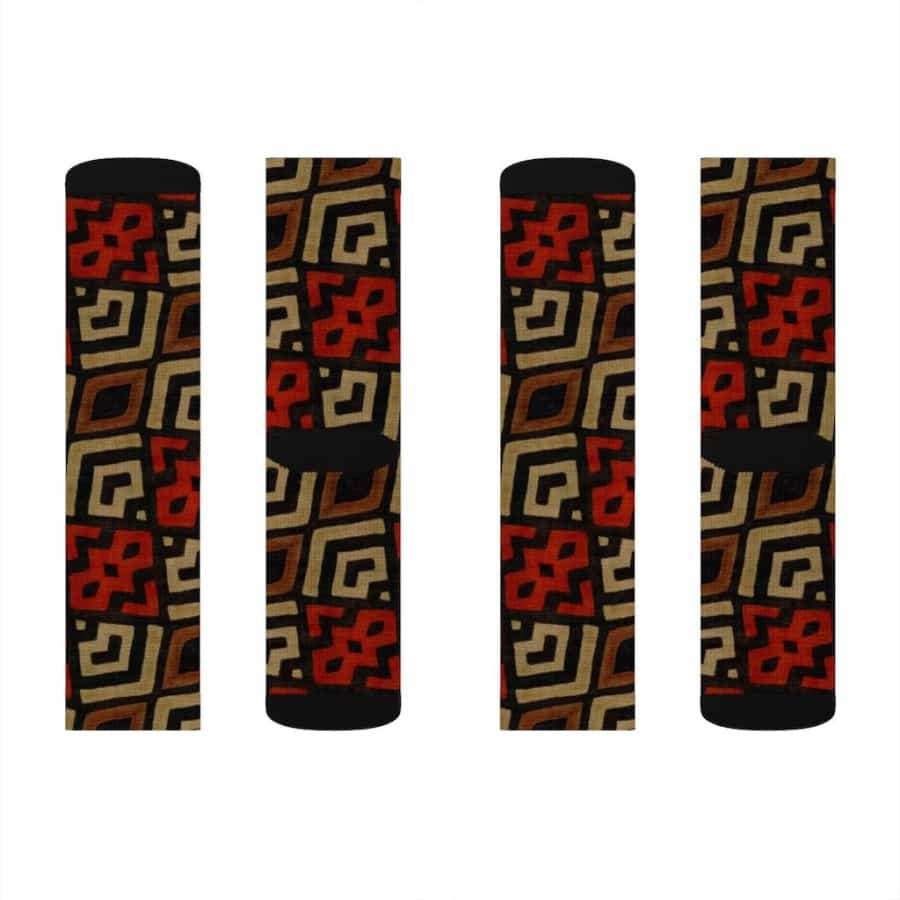 Bogolan Mystic Red Sublimation Socks - M - All Over Prints