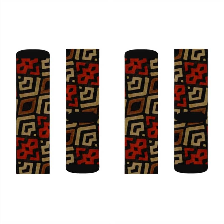 Bogolan Mystic Red Sublimation Socks - S - All Over Prints