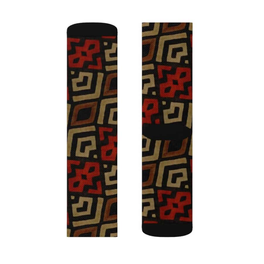 Bogolan Mystic Red Sublimation Socks - All Over Prints