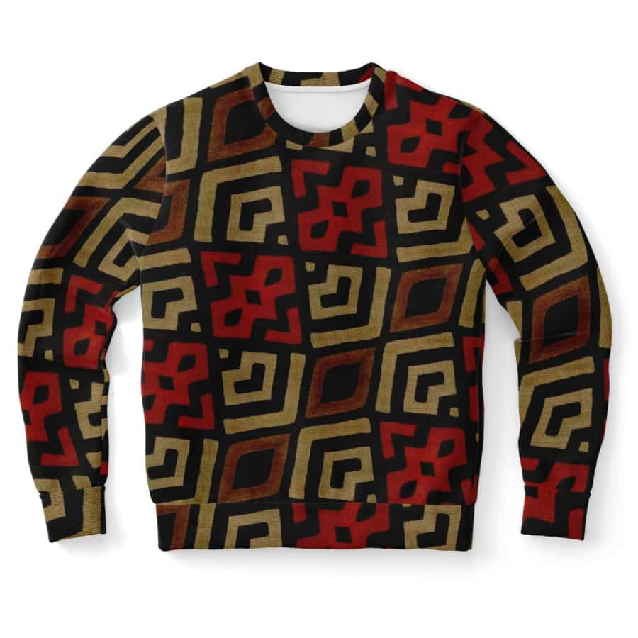 Bogolan Mystic Red Sweatshirt - Athletic Sweatshirt - AOP