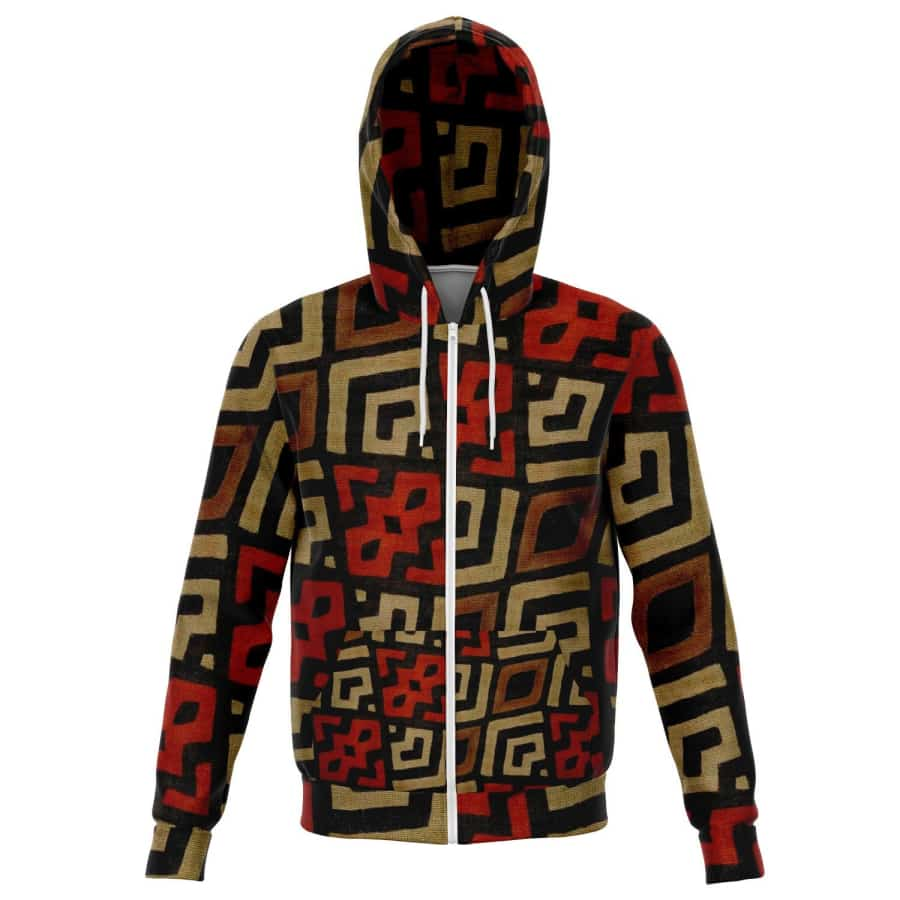 Bogolan Mystic Red Zip-Up Hoodie - XS - Athletic Zip-Up Hoodie - AOP