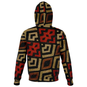 Bogolan Mystic Red Zip-Up Hoodie - Athletic Zip-Up Hoodie - AOP