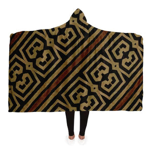 Bogolanfini Hooded Blanket - Adult / Premium Sherpa - Hooded Blanket - AOP