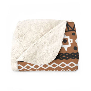 Brown African mud cloth Sherpa Fleece Blanket - 50 x 60 - Home Decor