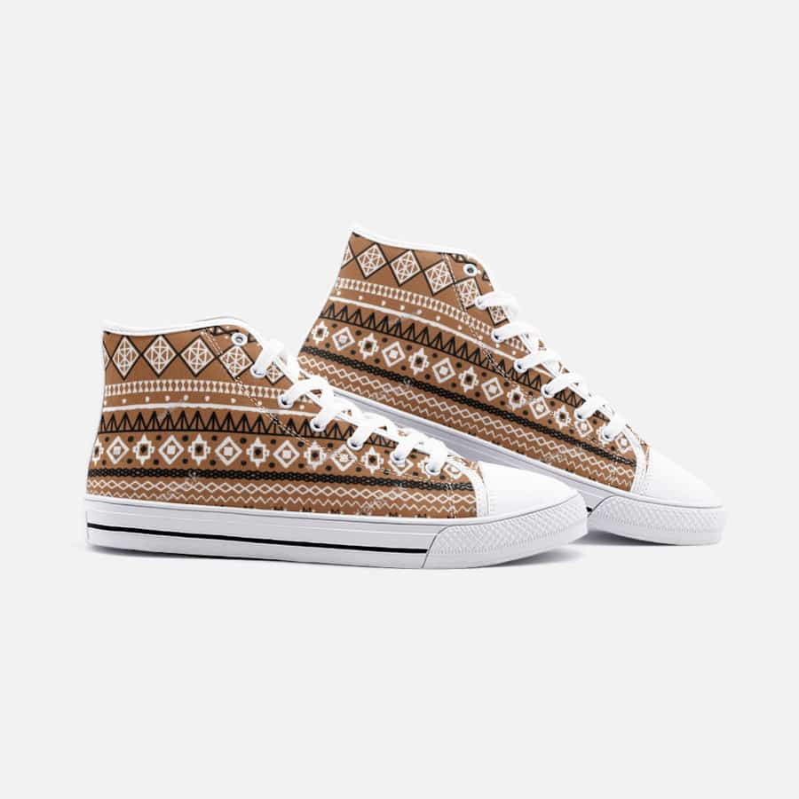 Brown African Mud cloth Unisex High Top Canvas Shoes - Men's Shoes