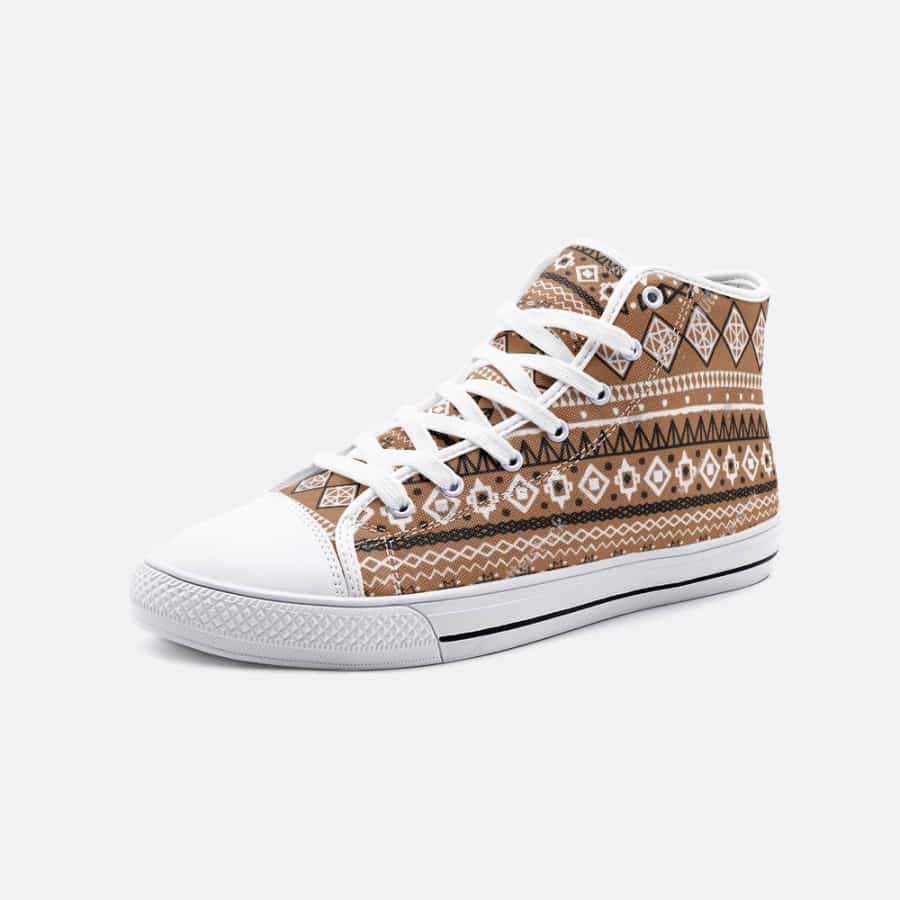 Brown African Mud cloth Unisex High Top Canvas Shoes - 5 Women / White - Men's Shoes