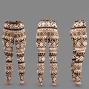 Brown African Mud Cloth Women's Cut & Sew Casual Leggings - All Over Prints