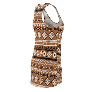 Brown African mud cloth women's Cut & Sew Racerback Dress - L - All Over Prints