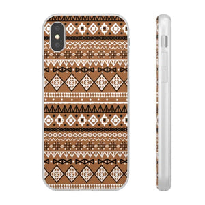 Brown African Tribal Flexi Cases - iPhone XS - Phone Case