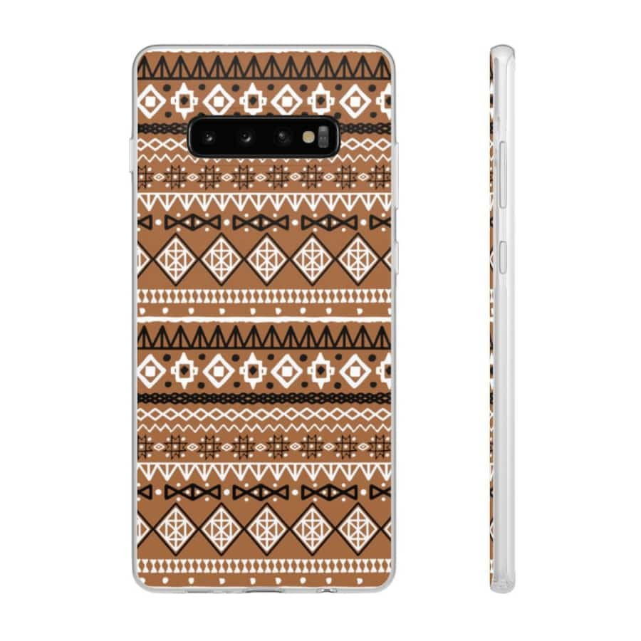 Brown African Tribal Flexi Cases - Samsung Galaxy S10 Plus - Phone Case